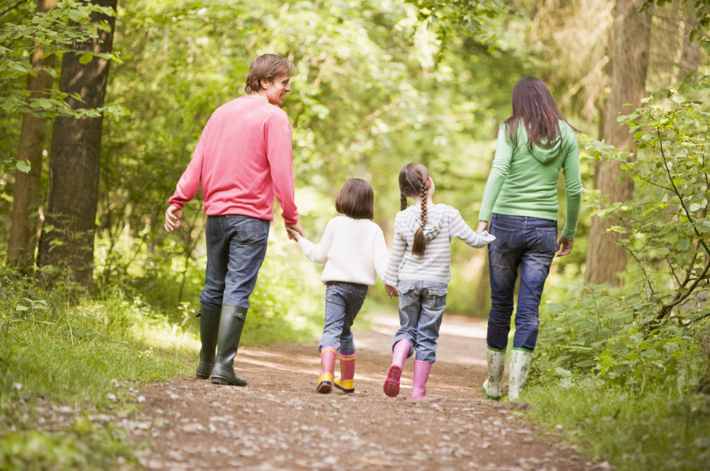 Family walking in forest in spring
